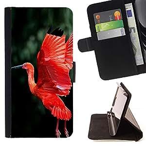 """la tarjeta de Crédito Slots PU Funda de cuero Monedero caso cubierta de piel Sony Xperia M5 E5603 E5606 E5653 , ( Pájaro Rojo Fuego Verde de vuelo Alas Tropical"""" )"""