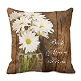 UOOPOO Mason Jar and White Daisies Country Barn Couple Custom Wedding Gift Throw Pillow Case Square 18 x 18 inches Cotton Canvas Customized Wedding Pillow Cover for Sofa