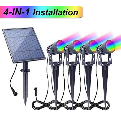 APONUO Solar Spotlights RGB Landscape Lights Color Changing Low Voltage Outdoor Solar Spotlight IP65 Waterproof 9.8ft Cable Auto On/Off for Outdoor Garden Yard Landscape Downlight (Multi-Color) (Changing Landscape Color Lights Solar)