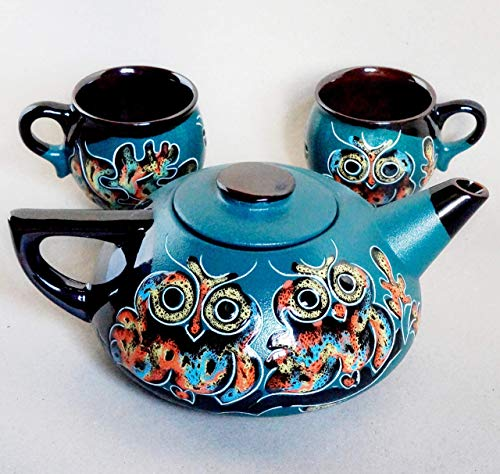 Green owl tea set, Handmade ceramic teapot and two tea mugs, Birthday Wife Mothers gift, Housewarming gift, Owl kitchen set]()