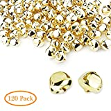 Augshy 120 Pcs 1 Inch Christmas Jingle Bells,Golden