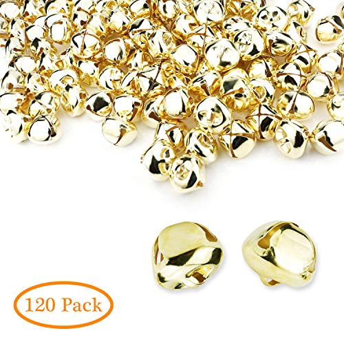 Augshy 120 Pcs 1 Inch Christmas Jingle Bells,Golden by Augshy
