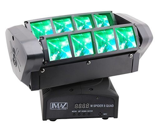 JMAZ M Spider 8 Quad Moving Head Light 8 x 12W RGBW Quad LED DMX512 For Stage Light Disco DJ Church Wedding Party Show Live Concert Lighting by JMAZ