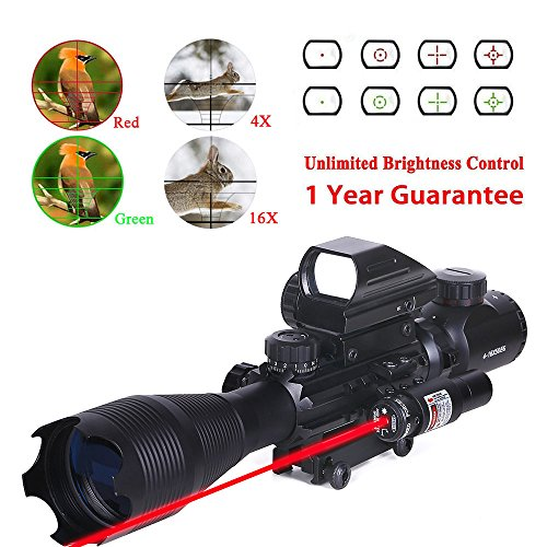 WhaleStone-Tactical-Rifle-Scope-for-AR15-4-16x50EG-Dual-Illuminated-with-Holographic-4-Reticle-Red-and-Green-Dot-Rifle-Sight-and-Red-Laser-Sight-for-22mm-WeaverPicatinny-Rail-Mount