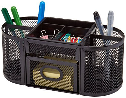 AmazonBasics Mesh Desk Organizer, Black Photo #3
