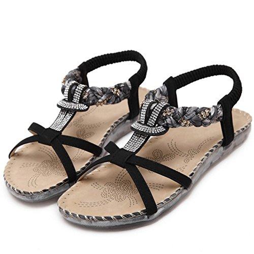 RAZAMAZA Mujer Comodo Bohemia Sandalias Punta Abierta Correa en T Plano Slingback Zapatos Strass Negro