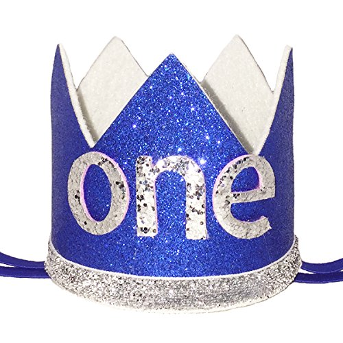 Maticr Glitter Baby Boy First Birthday Crown Number 1 Headband Little Prince Princess Cake Smash Photo Prop (Tiny Royal & Silver One) -