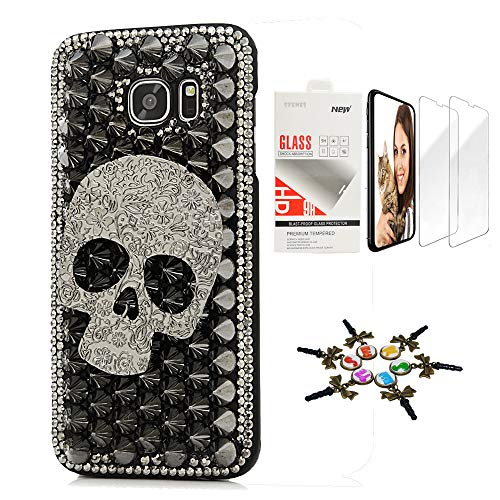(STENES Galaxy Note 9 Case - Stylish - 3D Handmade [Sparkle Series] Bling Punk Big Skull Design Cover Compatible with Samsung Galaxy Note 9 with Screen Protector [2 Pack] - Black)