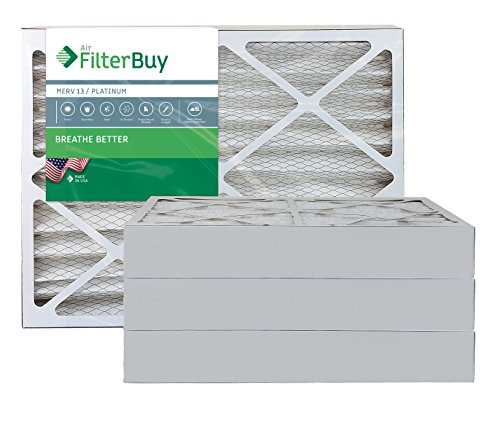 AFB Platinum MERV 13 20x25x4 Pleated AC Furnace Air Filter. Pack of 4 Filters. 100% produced in the USA.