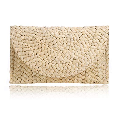 Straw Clutch Handbag Summer Beach Straw Purse for Women woven Envelope ()