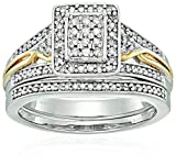 18k 1 Micron Yellow Gold over Sterling Silver Diamond Halo Bridal Set (1/2 cttw), Size 8