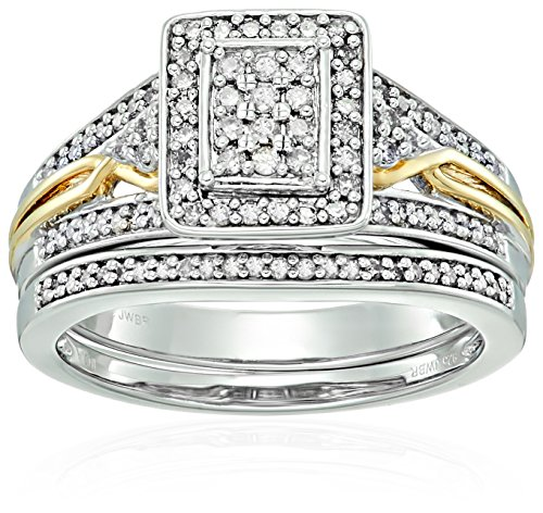 18k 1 Micron Yellow Gold over Sterling Silver Diamond Halo Bridal Set (1/2 cttw), Size 8 - Rectangular Diamond Set