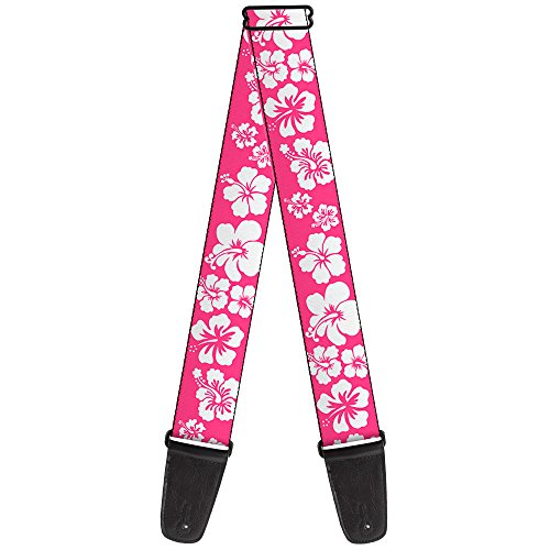 (Buckle-Down 2 Inches Wide Guitar Strap - Hibiscus Neon Pink/White (GS-W30853))