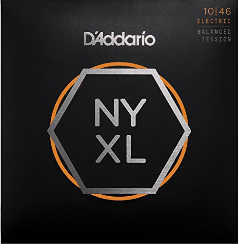 D'Addario NYXL1046BT Nickel Plated Electric Guitar Strings,Regular Light,Balanced Tension,10-46 - High Carbon Steel Alloy for Unprecedented Strength - Ideal Combination of Playability and Electric Tone