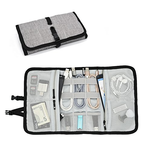 Western Flat Car - Patu Roll Up Folding Travel Organizer Case for Cables, Memory Cards, Flash Disks, Earphones, Portable Hard Drives, Power Banks or Adapters, or Other Small Electronics and Accessories, Gray