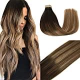 Googoo Balayage Hair Extensions Tape in Dark Brown to Light Brown and Ash Blonde Seamless Tape in Human Hair Extensions 18 inch 50g 20pcs