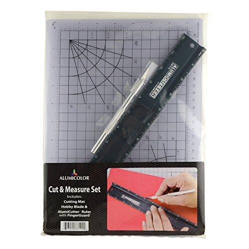 Alumicolor Cut & Measure Set: Gridded Cutting Mat, 12 inch Alumicutter and Hobby Knife, Aluminum, Black (3812-9)