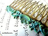 Bridal Hair Comb blue green Verdigris patina Turquoise antique Bronze Vintage Inspired