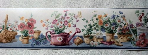 Gardening Flowers Watering Can Wallpaper Border - Blue...