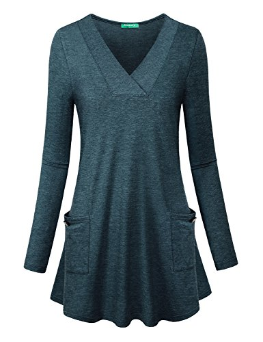 Kimmery Long Tunic Shirt, Women Work Cute Shirts Plain Full Sleeve Trendy Knitted Slim Fit Stretchy Breathable Clothes Tri Blend Rouched Emerald Juniors Blouses Green L