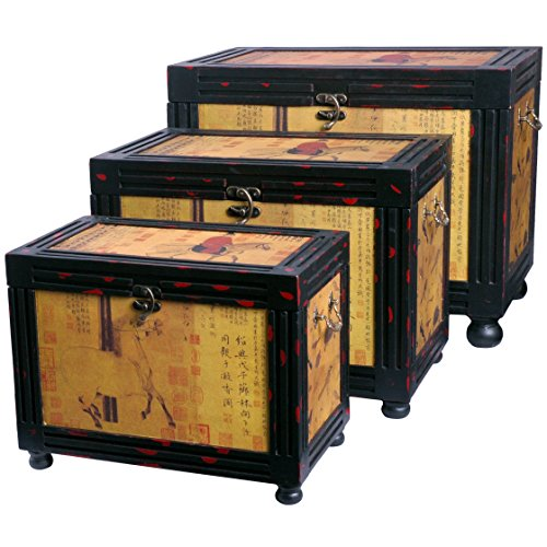 Oriental Furniture Raging Stallions Storage Boxes (Set of Three)