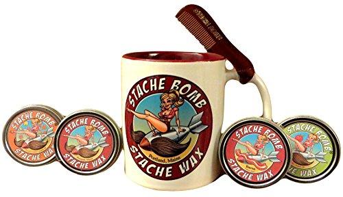 Stache Bomb Stache Wax- Mustache Wax Gift Set