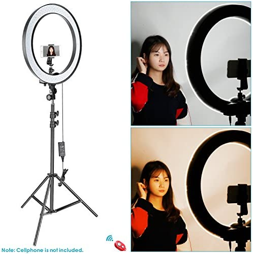 Selfie Color : Black JIAX Ring Light,Dimmable Light Ring Lighting Kit for for Selfie Camera Photography Makeup Video Live Streaming Camera Makeup 60W LED Ring Light with Stand