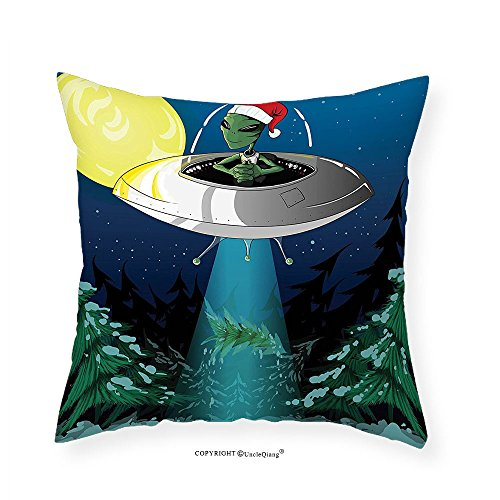 VROSELV Custom Cotton Linen Pillowcase Outer Space Decor Alien with Santa Claus Hat Kidnaps Tree for Christmas Night Airship Print for Bedroom Living Room Dorm Green Blue 24