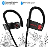 LETSCOM Bluetooth Headphones, Wireless Earbuds Mic, IPX7 Waterproof Nano Coating Sports Earphones Running, Noise Cancelling Headsets, HD Stereo, up to 8 Hours Work Time