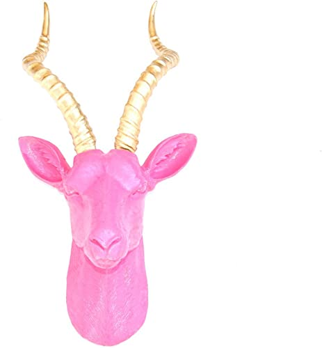 Near and Deer Antelope Head Wall Mount, Large, Pink Gold