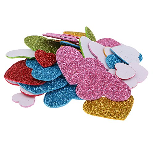 Baoblaze 50 Pieces Foam Heart Glitter Stickers for Wall Stickers Ornament Gift Wedding decoration Valentine's day ()