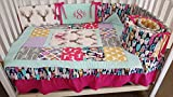Woodland 1 to 4 Piece baby girl nursery crib bedding Quilt, bumper, and bed skirt, Buck, deer, fawn, head silhouette, Arrow, Teepee, Aztec Hot pink, mint, lavender, grey, navy,Gold