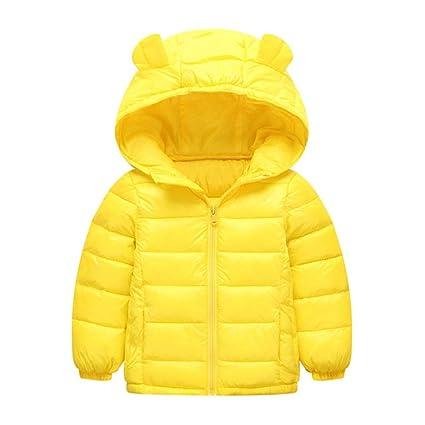 Cálido Lindo bebé niños niñas Abrigo cálido de Invierno Orejas pequeñas Peso Ligero Capuchas Puffer Abajo