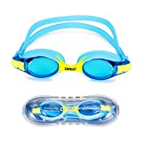 Swimming Goggles, Polersun Kids Children Junior Boys Girls Swim Goggles, for 3-12 Years Old, UV Protection, Adjustable Strap, Anti Fog, Comfortable, Bright Colours Goggles with Case (Blue)