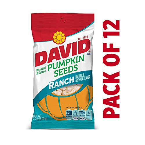 DAVID Roasted and Salted Ranch Pumpkin Seeds, Keto Friendly, 2.25 oz, 12 Pack