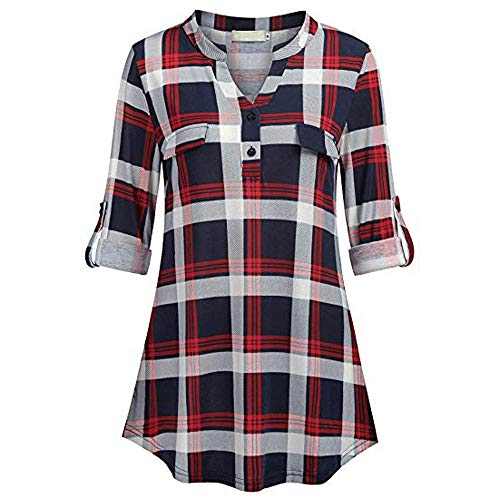 TWGONE Tunic Shirts For Women To Wear With Leggings Split Button V Neck Long Sleve Roll-up Plaid Blouses Tops(X-Large,Red-3)