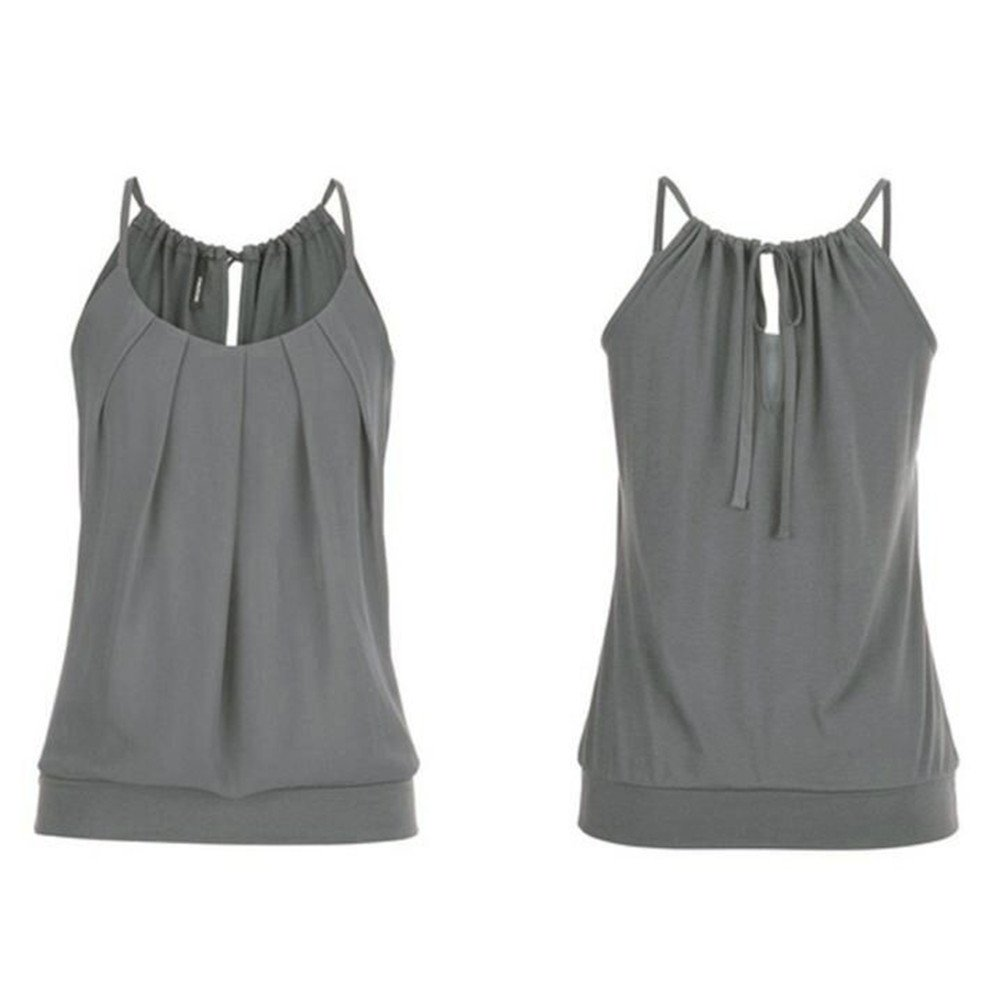 Camisoles of Womens Loose Sleeveless Tank Tops O Neck Solid Vest Bustier Fashion Crop Tops Sport Camis Blouse Plus Size S~5XL Gray
