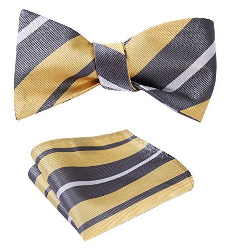 SetSense Men's Stripe Jacquard Woven Self Bow Tie Set One Size Yellow / Gray