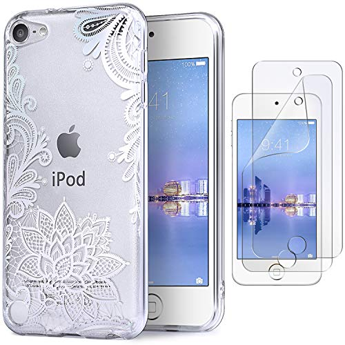 IDWELL iPod Case for iPod Touch 7 Touch 6 Touch 5,Soft Bumper,TPU Clear Case,Slim Lightweight Colorful Shiny Flexible Glossy Cover for Apple iPod Touch 7G 2019 Released/6G 2015 /5G, Flower Clear ()