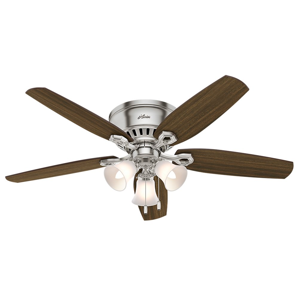 Hunter 53328 52 builder low profile ceiling fan with light brushed hunter 53328 52 builder low profile ceiling fan with light brushed nickel amazon aloadofball Image collections