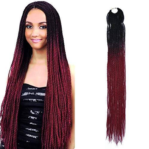MYCHANSON 6Pcak 24Inch 30Stands/Pcak Ombre Color Senegalese Twist Crochet Box Braids Synthetic High Temperature Fiber Braiding Hair Extensions for Black Women(Black Wine Red) ()