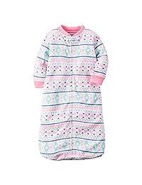 Baby Girl 0-9 Months Hearts Fair Isle Zip Up Fleece Sleepsack, Bag