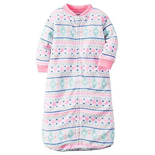 Cartrs Baby Girl 0-9 Months Hearts Fair Isle Zip Up Fleece Sleeper Bag