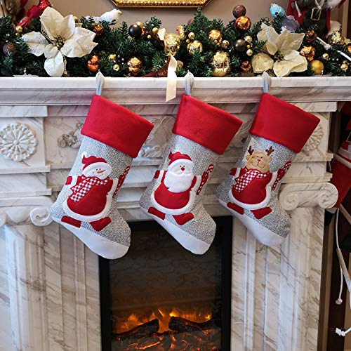 WEWILL 18'' Gray Felt Christmas Stockings Red Cuff Set of 3 Embroidered Snowman Reindeer Santa Claus with Candy Cane Gift Bag Xmas Stockings Home Holiday Decoration