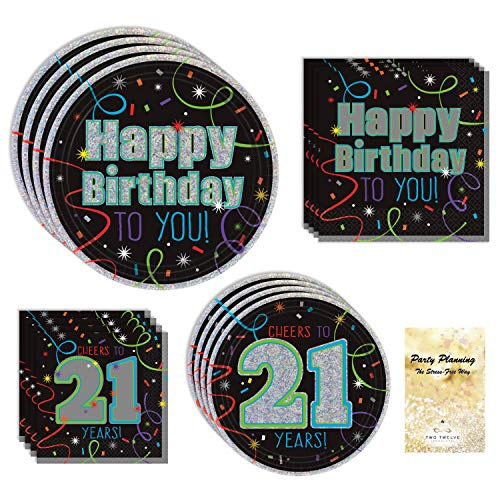 TwoTwelve Products 21st Birthday Party Supply Pack, Brilliant Birthday Design, 16 Guests, Bundle of 4 Items: Dinner Plates, Dessert Plates, Lunch Napkins and Beverage Napkins