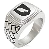 Two-Tone Stainless Steel Raven Bringer of Death Coat of Arms Shield Engraved Geometric Pattern Step-Down Biker Style Polished Ring, Size 10