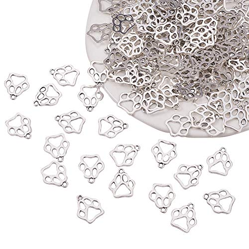 - PH PandaHall 150pcs Antique Silver Tibetan Alloy Flat Puppy Dog Paw Prints Charms Pendant Beads Charms for DIY Bracelet Necklace Jewelry Making