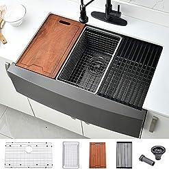 Farmhouse Kitchen 30 Black Farmhouse Sink- Bokaiya 30 inch Stainless Steel Farmhouse Apron Kitchen Sink Workstation 16 Gauge Matte Black… farmhouse kitchen sinks