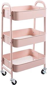 AGTEK Makeup Cart, Movable Rolling Organizer Cart, 3 Tier Metal Utility Cart, Rosiness