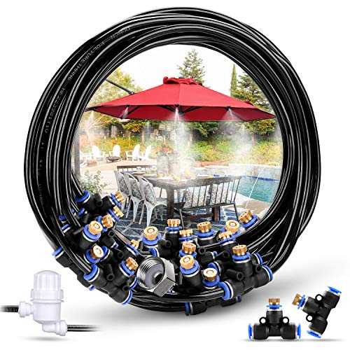 """HOMENOTE Misting Cooling System 59FT (18M) Misting Line + 26 Brass Mist Nozzles + a Metal Adapter(3/4"""") Outdoor Mister + Filter for Patio Garden Greenhouse Trampoline for Water Park (18M) ()"""